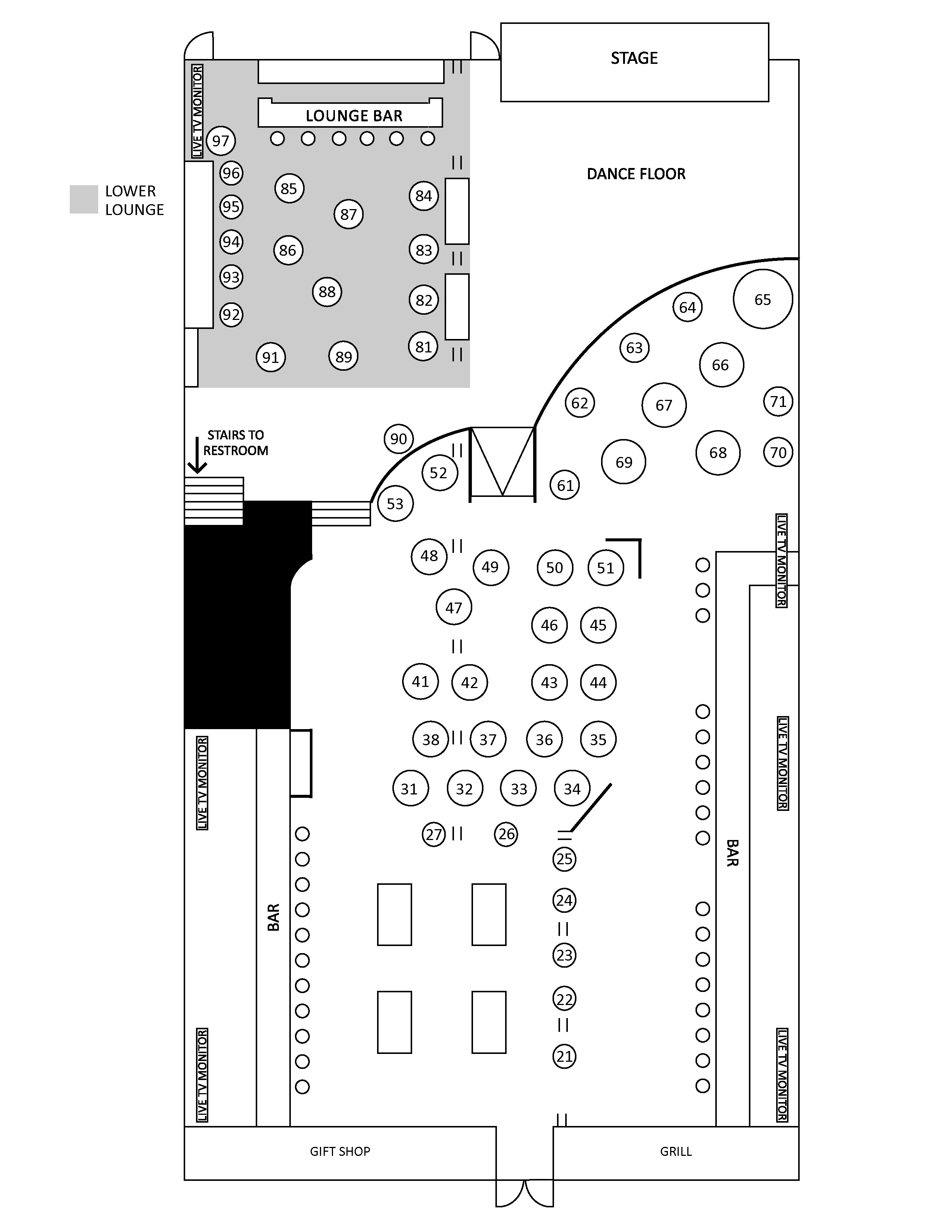 Cowboy Bar Floor Plan